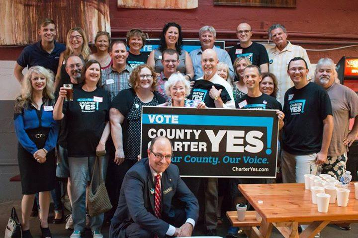 Greg Kimsey with a group of Clark County liberal activists promoting the Charter.